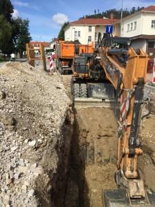 Gradnja vodovoda v Ulici 1 Maja, Izkop kanala za vgradnjo cevi NL DN 350 in 200